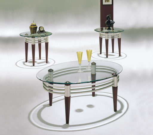 Marseille Cherry, Silver & Clear Glass Coffee/End Table Set (3Pc) image