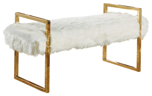 Chloe White Faux Fur Bench image
