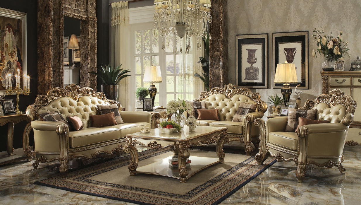 Vendome Bone PU & Gold Patina 3-Piece Living Room Set image