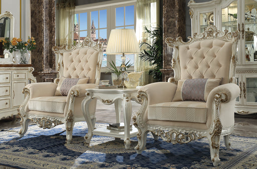 Picardy II Fabric & Antique Pearl Accent Chair & Pillow image