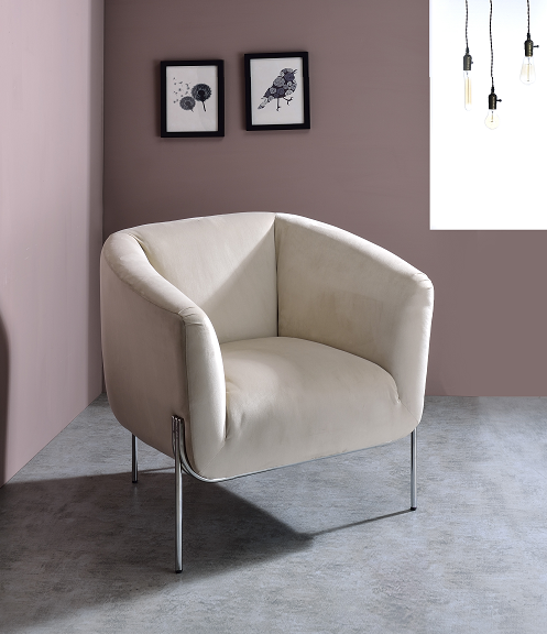 Carlson Beige Velvet & Chrome Accent Chair image
