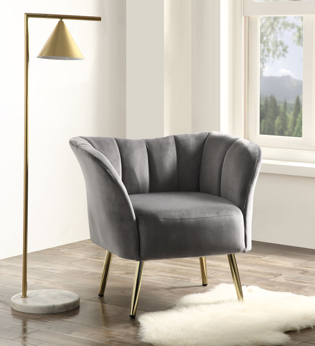 Reese Gray Velvet & Gold Accent Chair image