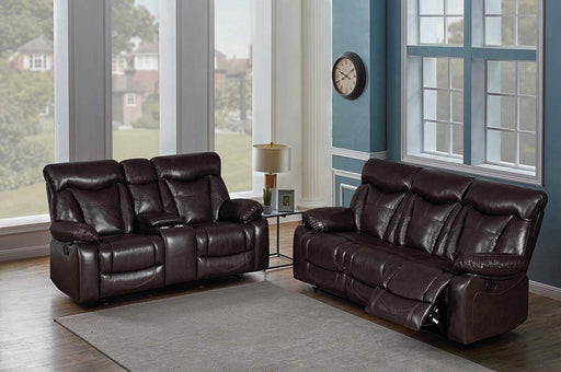 Zimmerman Dark Brown Faux Leather Two-Piece Living Room Set image