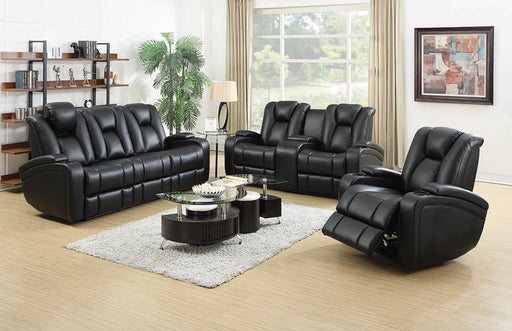 Zimmerman Black Faux Leather Power Motion Three-Piece Living Room Set image