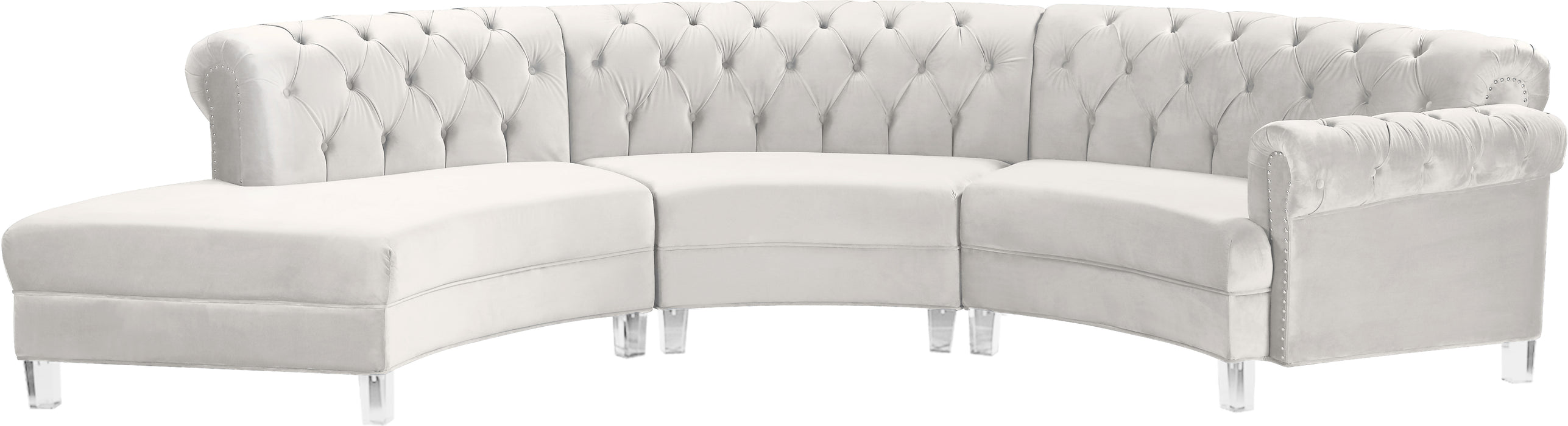 Anabella Cream Velvet 3pc. Sectional image