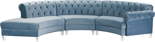 Anabella Sky Blue Velvet 3pc. Sectional image