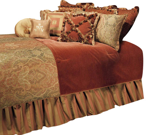 AICO Woodside Park 12-pc Queen Comforter Set in Spice BCS-QS12-WDSPRK-SPI image