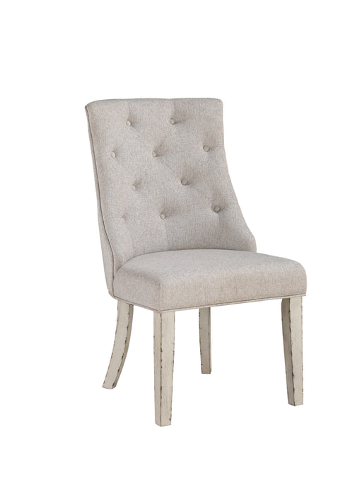 Katet Beige Linen & Antique White Arm Chair image