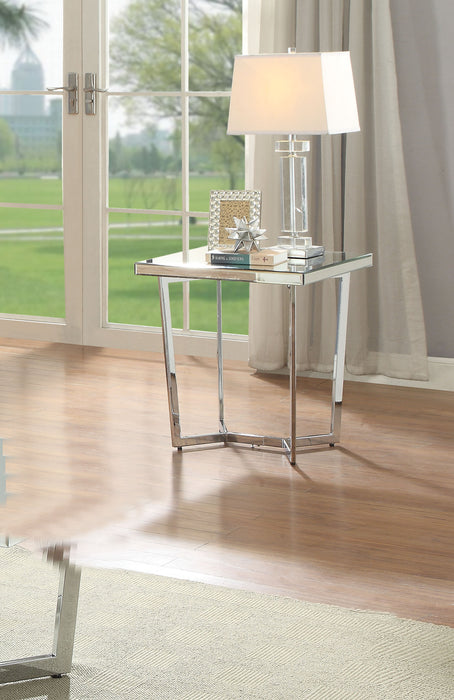 Hastin Mirrored & Chrome End Table image