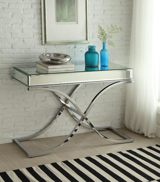 Yuri Mirrored Top & Chrome Sofa Table image