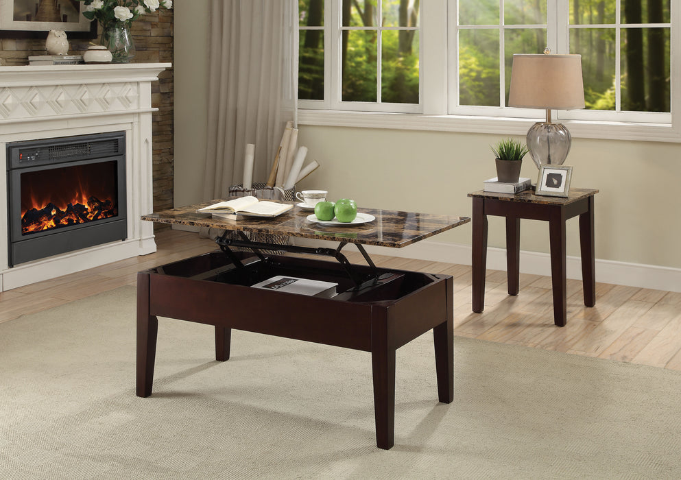 Dusty II Light Brown Faux Marble & Cherry Coffee Table image