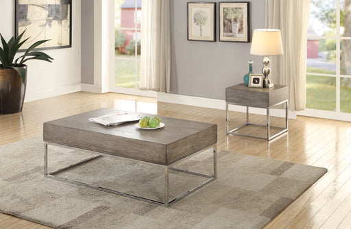 Cecil II Gray Oak & Chrome Coffee Table image