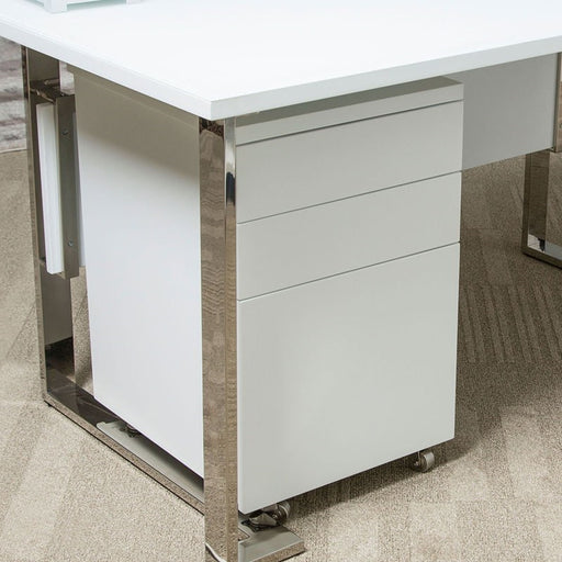 AICO Furniture Halo File Cabinet with Casters in Glossy White 9018209-116 image