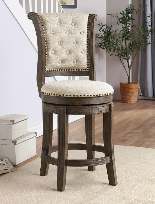Glison Beige Fabric & Walnut Counter Height Chair (1Pc) image