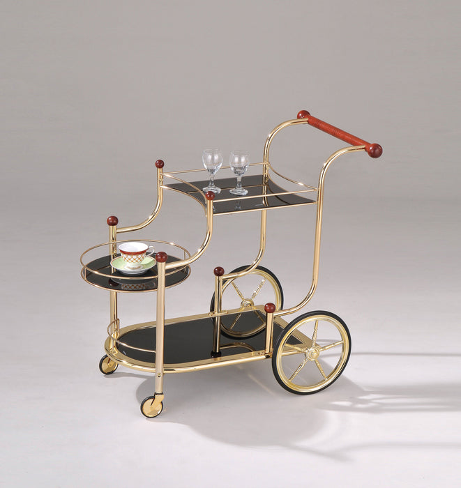 Lacy Gold Plated & Black Glass Serving Cart image