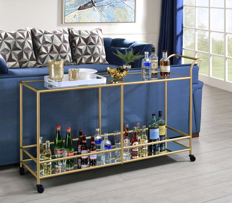 Kenda Clear Glass, Mirrored & Gold Serving Cart image