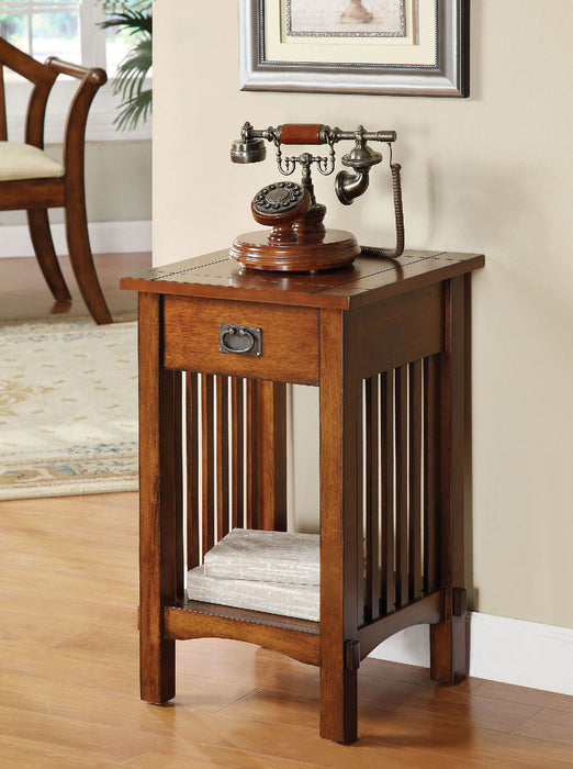 Valencia IV Antique Oak Telephone Stand w/ One Drawer image