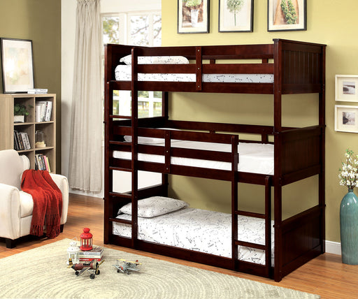 Therese Dark Walnut Twin Triple Decker Bed image