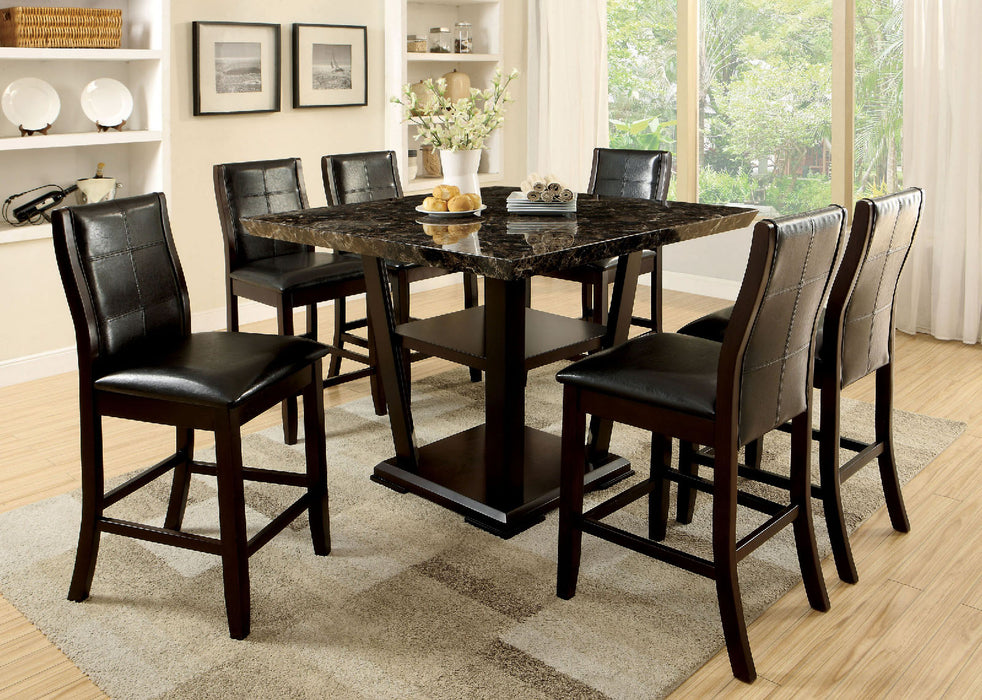 CLAYTON II Dark Cherry/Black 7 Pc. Counter Ht. Dining Table Set image