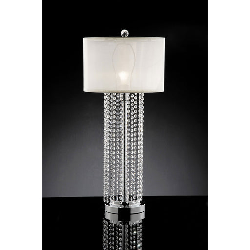 Claris White/Chrome Table Lamp, Hanging Crystal image