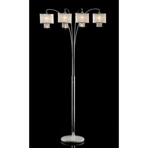 Claris Ivory/Chrome Arch Lamp, Hanging Crystal image