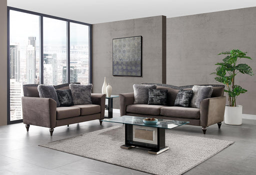 UFM801 SOFA W/ 4 PILLOWS (3001-5/ZH8181) DRK GRY(CC-68)/SILVER (S-015M) image