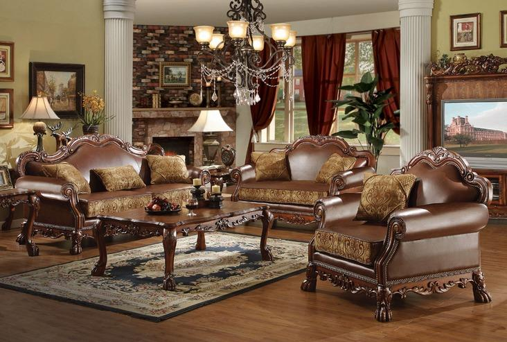 Dresden Brown PU & Chenille, Cherry Oak 3-Piece Living Room Set image