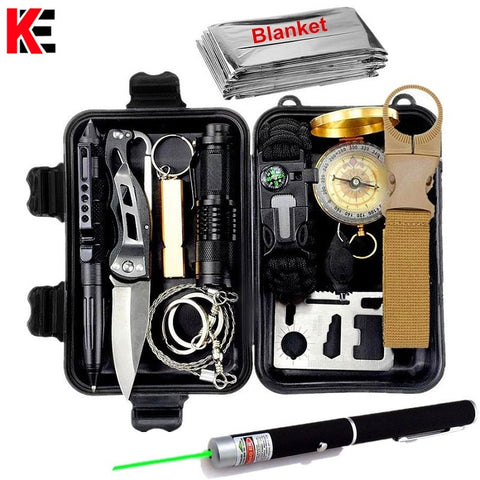Survival kit set military outdoor travel mini camping tools aid kit emergency multifunct survive Wristband whistle blanket knife