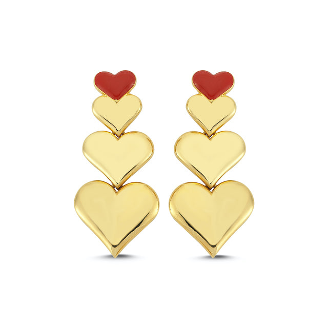 Sup Others Enamel Heart Earrings - Red