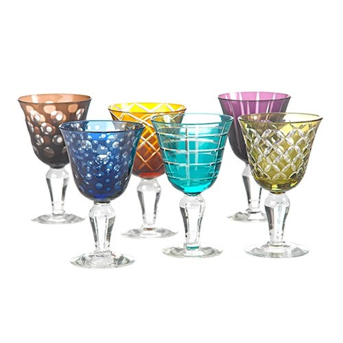 Pols Potten Multicolored Cutting Wine Glasses - Set of six