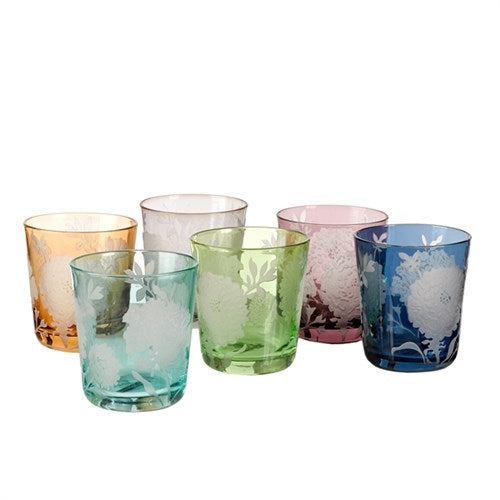 Pols Potten Multicolored Peony Glasses - Set of six