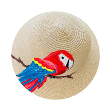 Load image into Gallery viewer, Straw Hat Hand Painted - Parrot