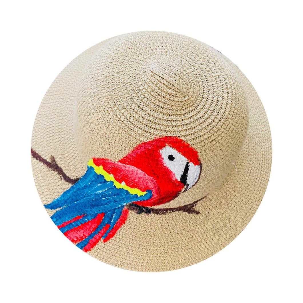 Straw Hat Hand Painted - Parrot