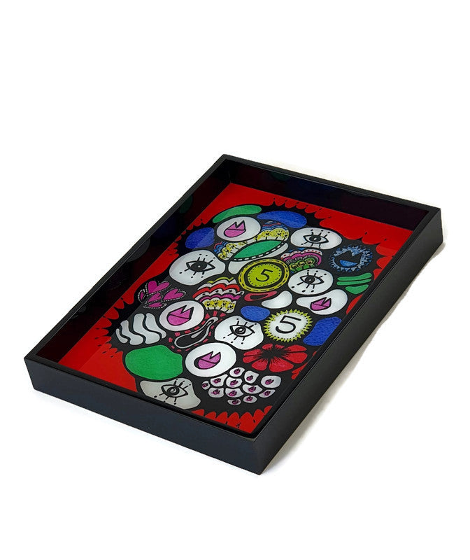 Sara Nimer Token Red Tray Small - Black