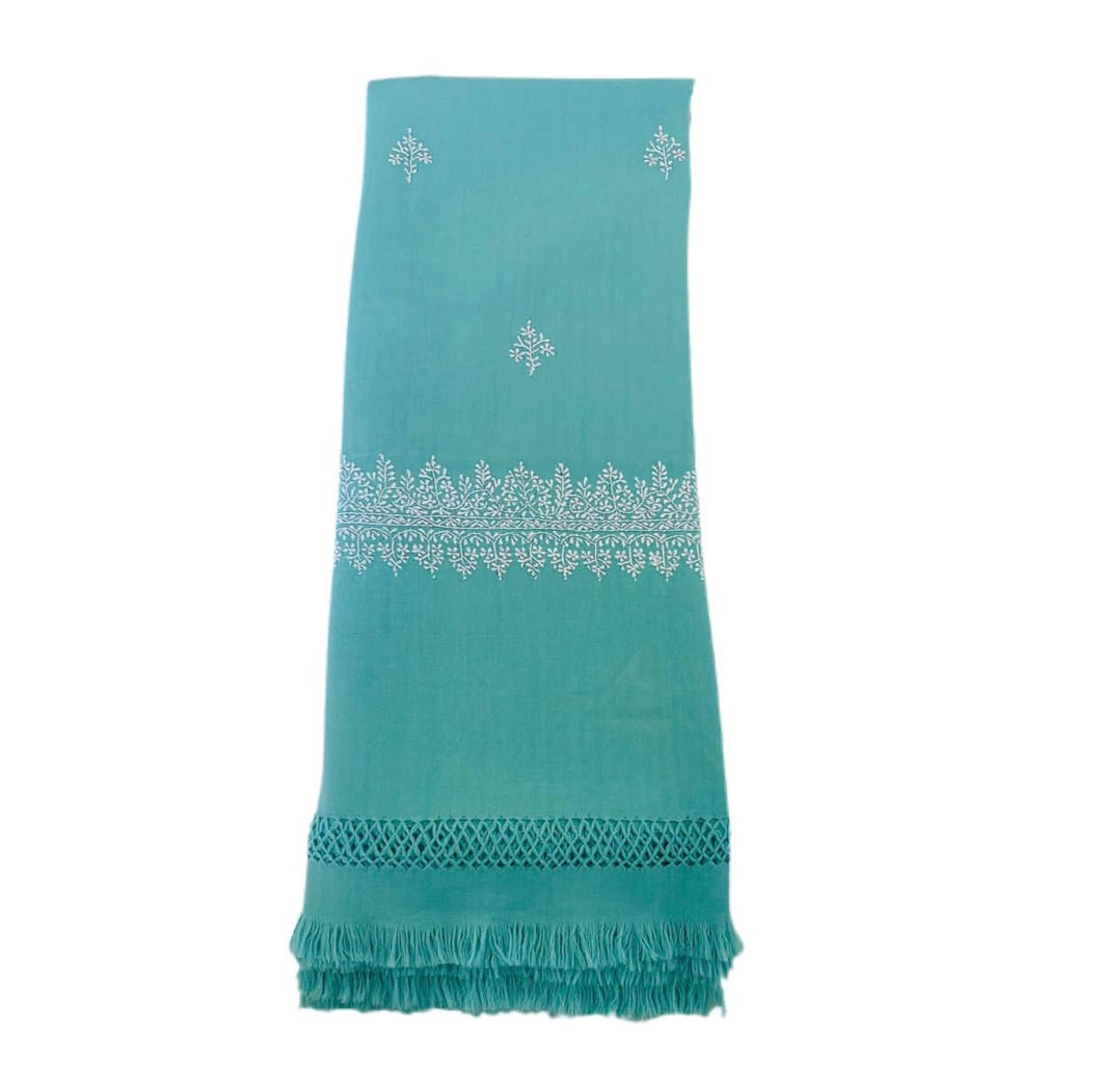 Kashmir Wool Hand Embroidered Blanket - Mint