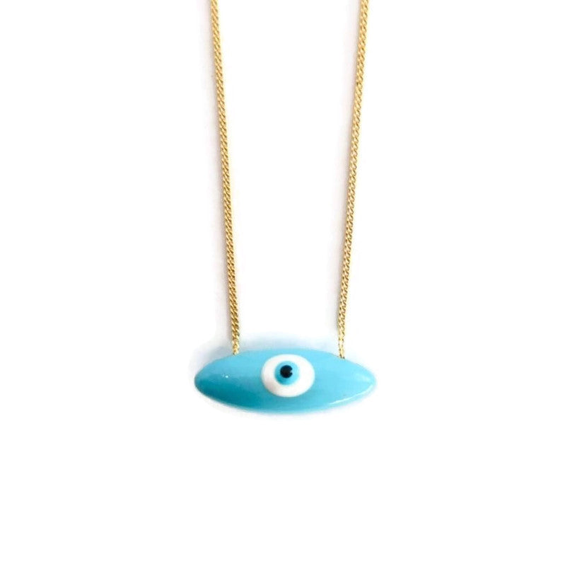 Sofia Oval Small Evil Eye - Turqoise