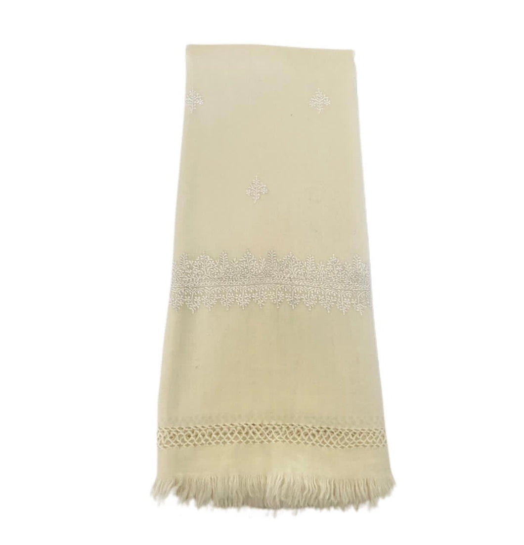 Kashmir Wool Hand Embroidered Blanket - White