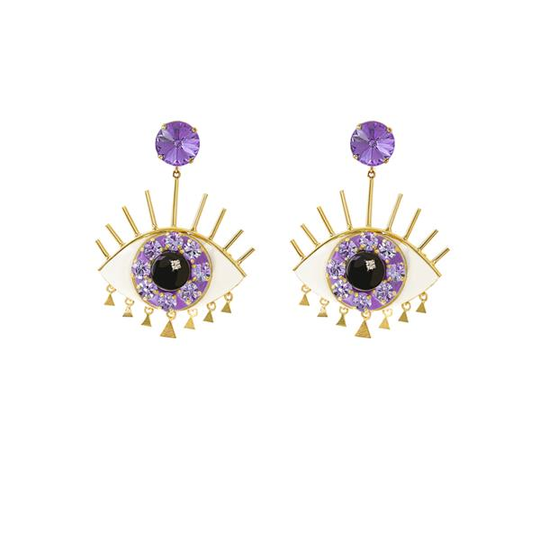 Elsa O Ya Leil Ya Ein Eye Long Earrings - Purple
