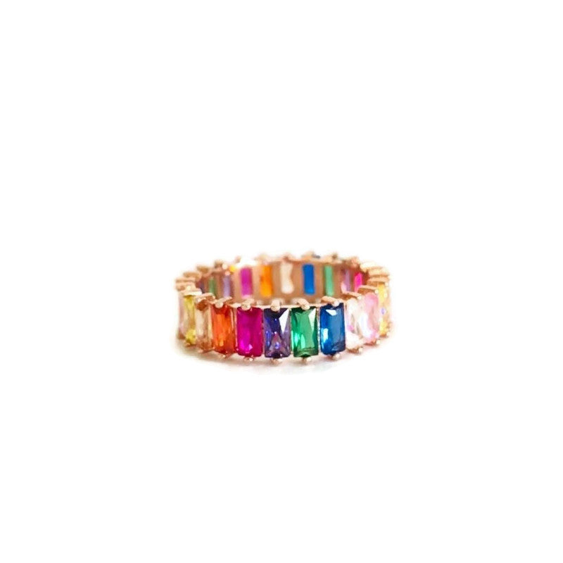 Chato Rainbow Baguette Ring - Colored Zircon