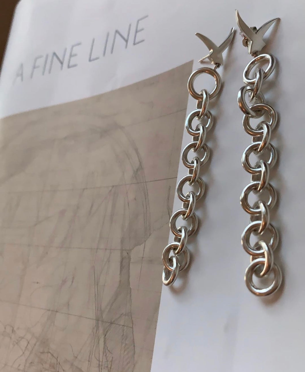 Usfuur Sterling Silver Chain Earrings - Silver