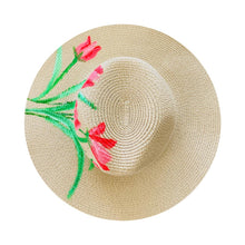 Load image into Gallery viewer, Straw Hat Hand Painted - Tulips