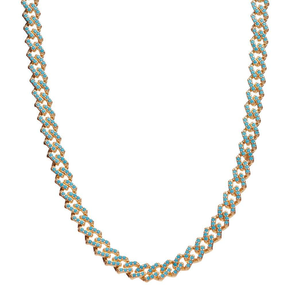 Crystal Haze Mexican Chain Necklace - Mykonos Blue