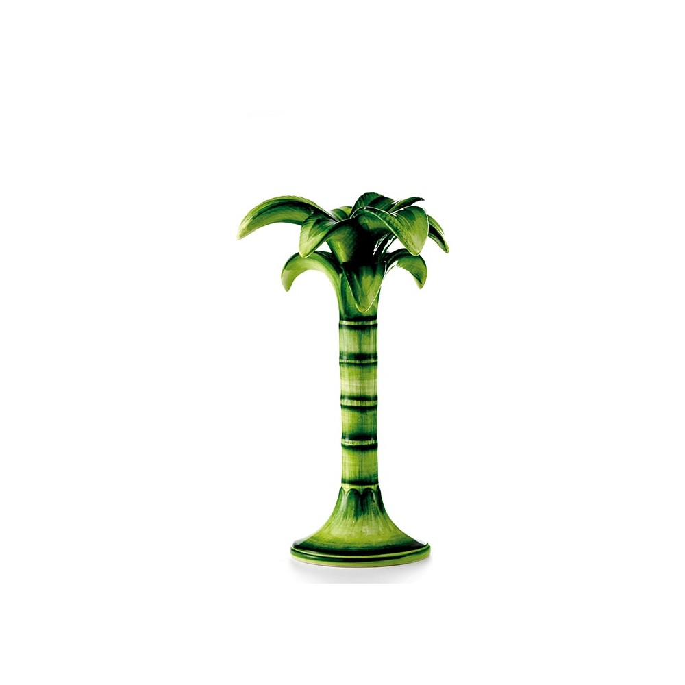 Les Ottomans Palm Tree Candle Holder Medium - Green