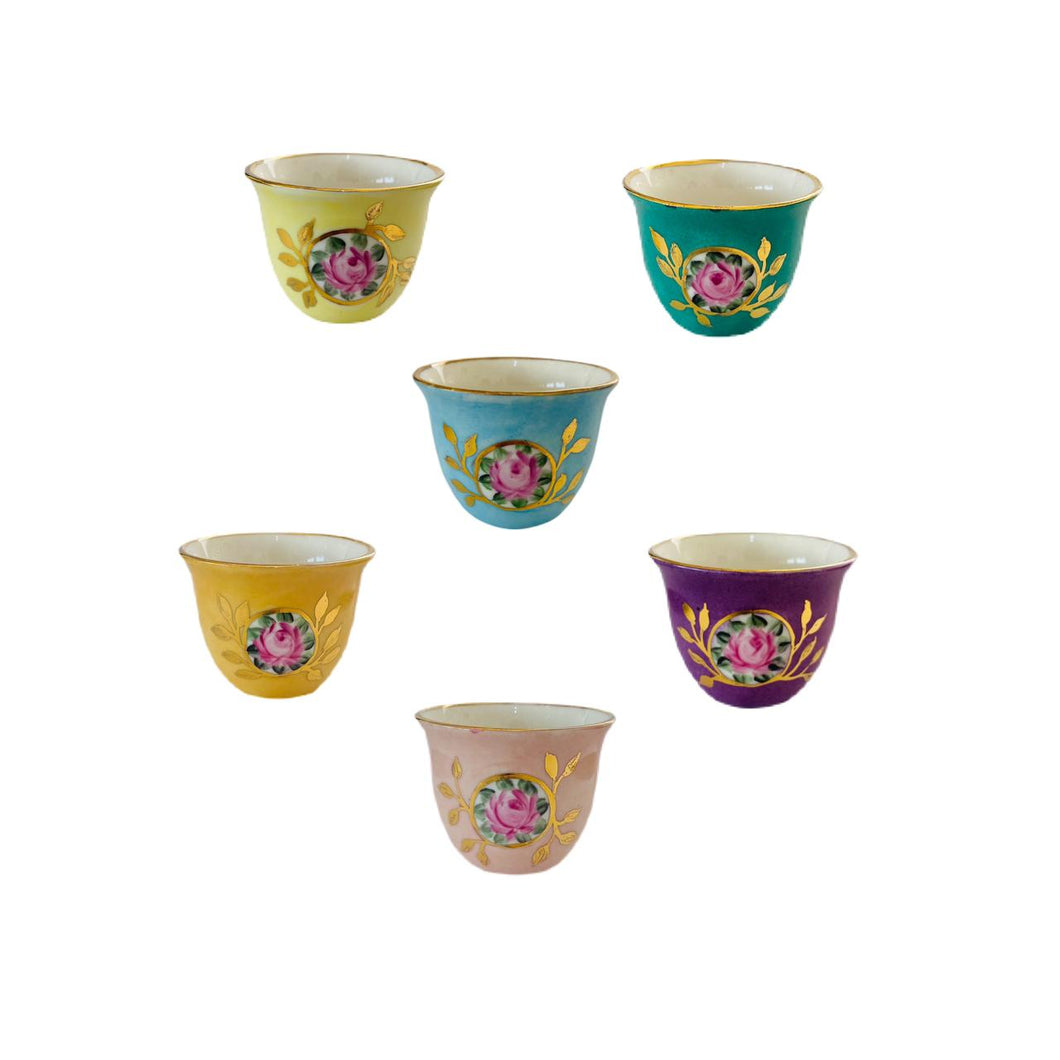 Roses Arabic Coffee Cups Set of 6 - Multicolor