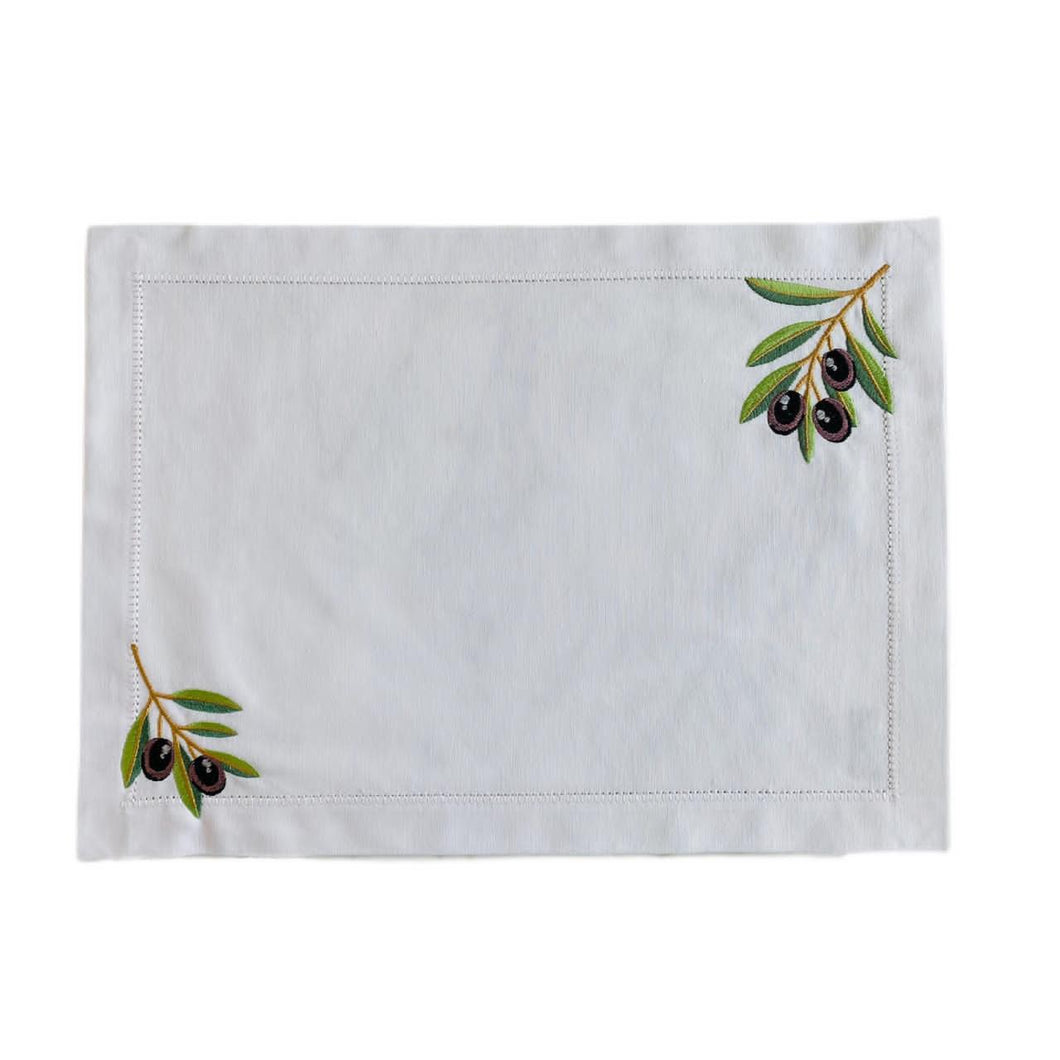 Olive Branch Placemat - White