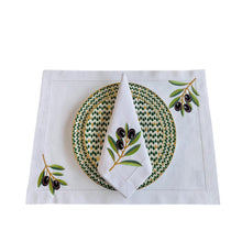 Load image into Gallery viewer, Olive Branch Placemat - White