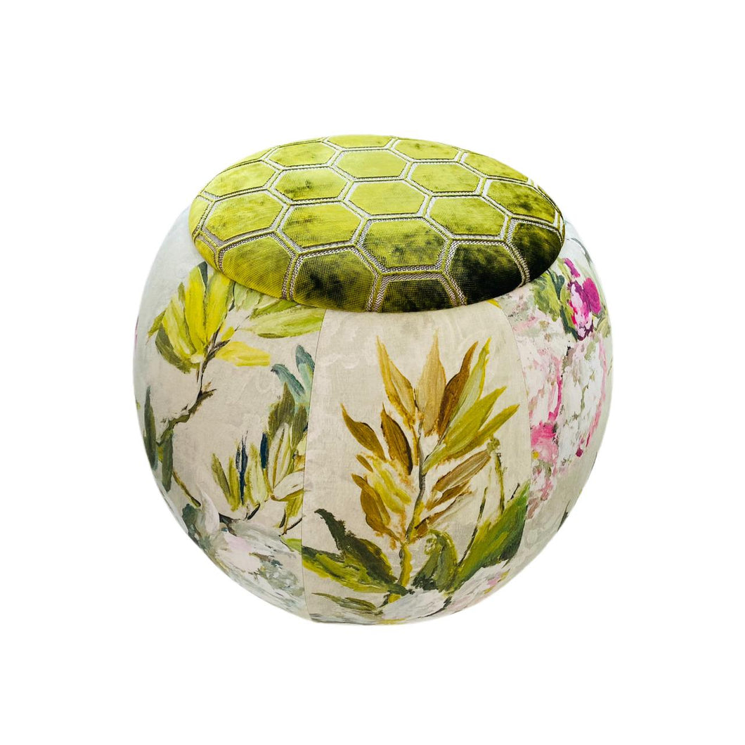 Maison Mishmashi Queen Pouf Chair - Tropical with Green Velvet Top