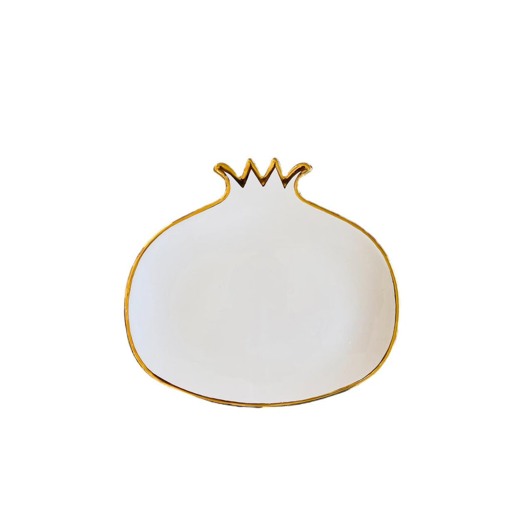 Pomegranate Plate White - L