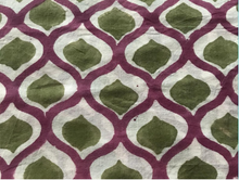 Load image into Gallery viewer, Les Ottomans Block Print Tablecloth - Ikat Purple & Green