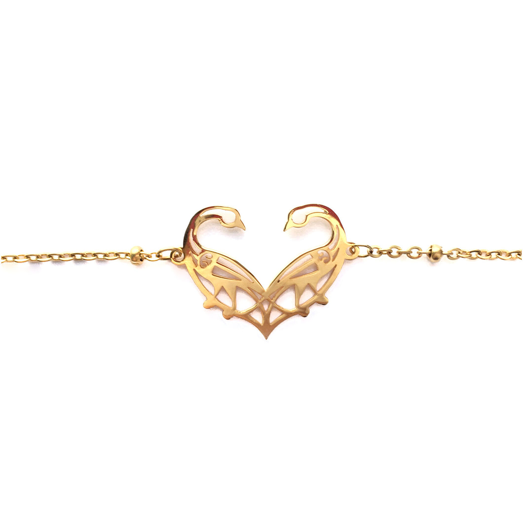 Narinee Love Birds Charm Bracelet - Gold